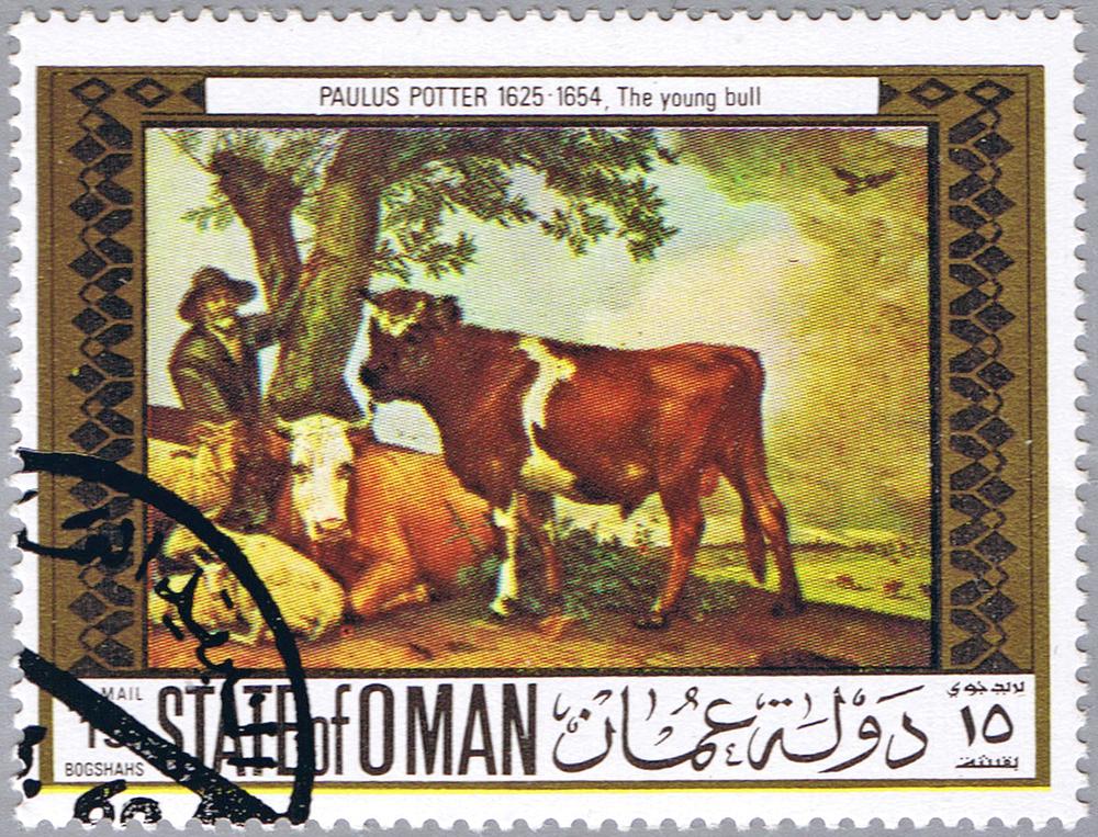 Koeien in de kunst: De Stier van Paulus Potter op een postzegel